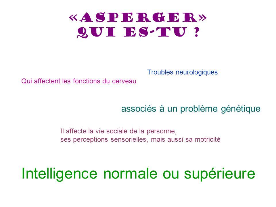 «Asperger» qui es-tu ? Qui affectent les fonctions du cerveau associés à un problème génétique Il affecte la vie sociale de la personne, ses perceptio