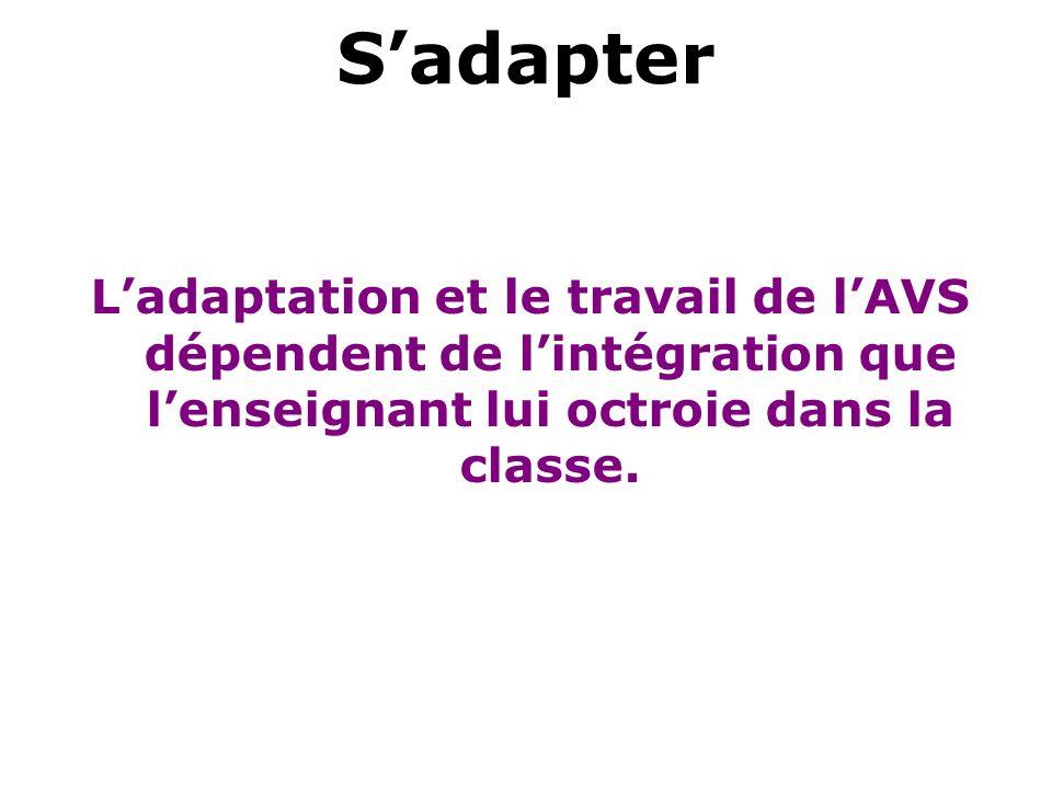 Sadapter Ladaptation et le travail de lAVS dépendent de lintégration que lenseignant lui octroie dans la classe.