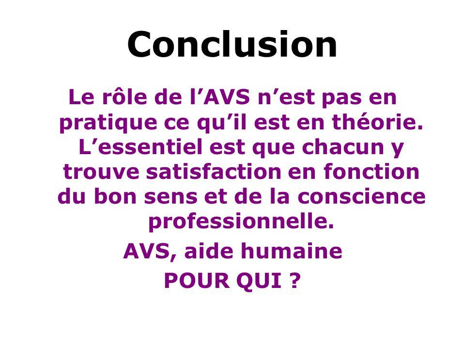 Conclusion Le rôle de lAVS nest pas en pratique ce quil est en théorie. Lessentiel est que chacun y trouve satisfaction en fonction du bon sens et de