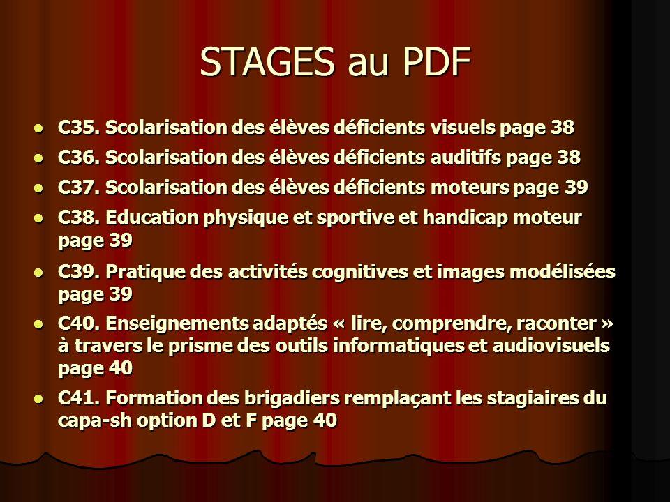 C35. Scolarisation des élèves déficients visuels page 38 C35.