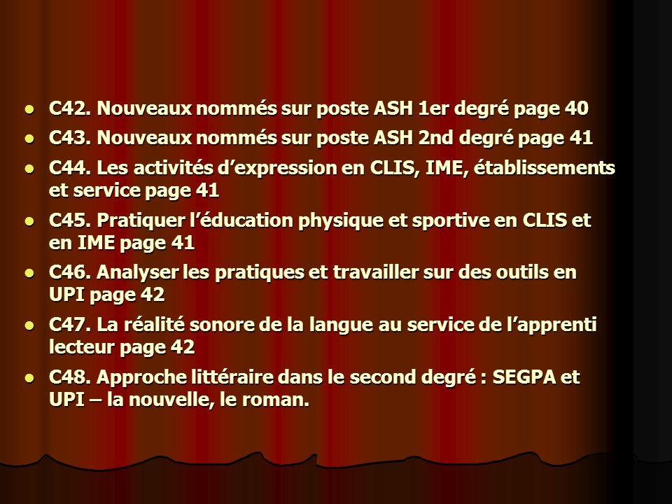 C42. Nouveaux nommés sur poste ASH 1er degré page 40 C42.