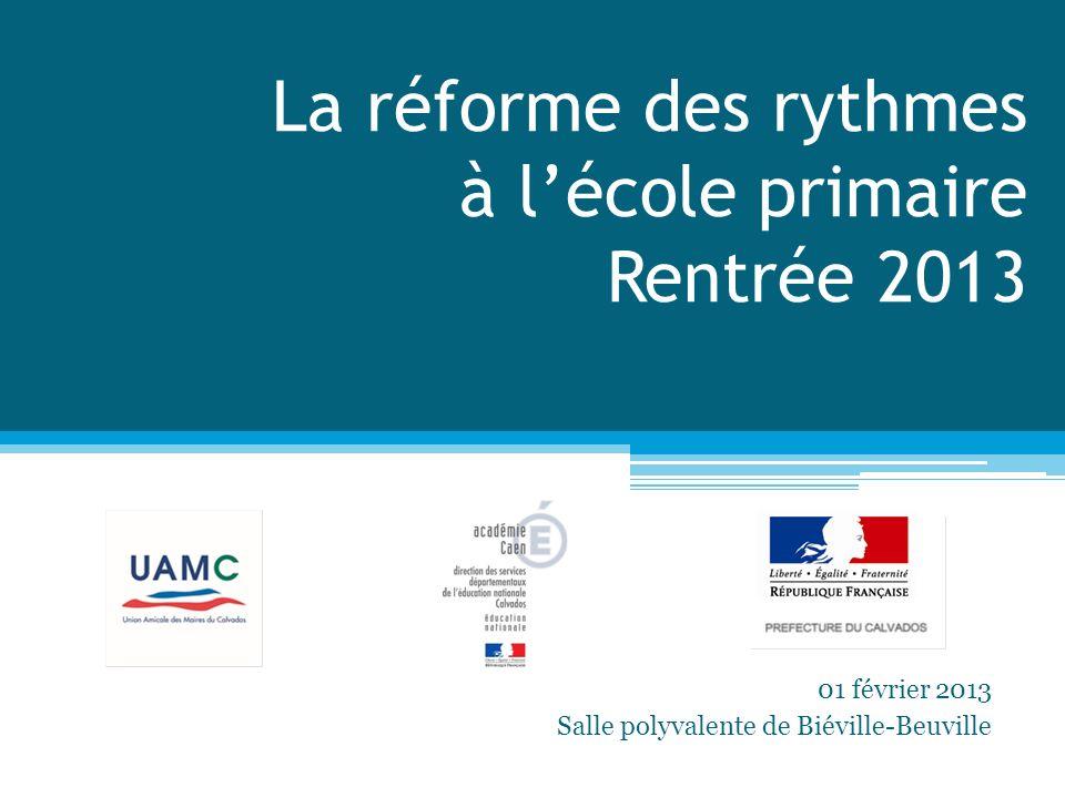 La réforme des rythmes à lécole primaire Rentrée 2013 01 février 2013 Salle polyvalente de Biéville-Beuville