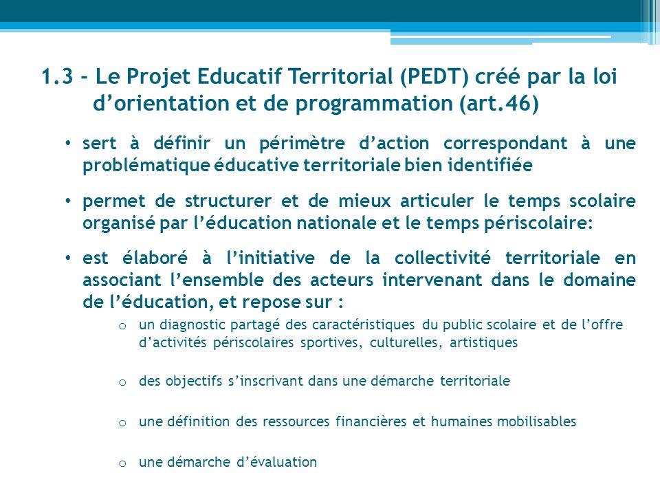 1.3 - Le Projet Educatif Territorial (PEDT) créé par la loi dorientation et de programmation (art.46) sert à définir un périmètre daction correspondan
