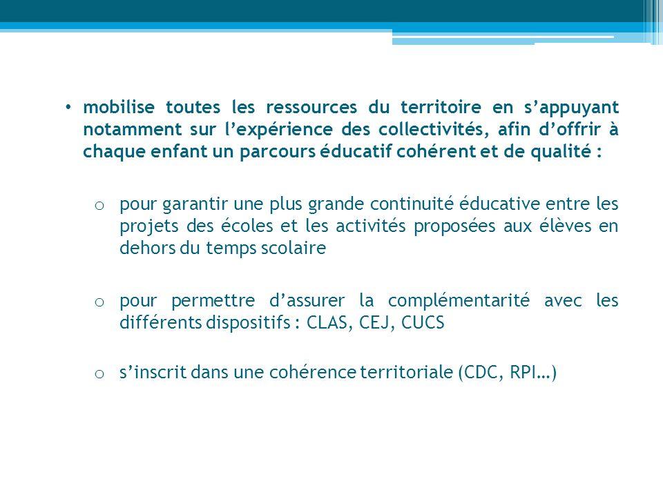 mobilise toutes les ressources du territoire en sappuyant notamment sur lexpérience des collectivités, afin doffrir à chaque enfant un parcours éducat