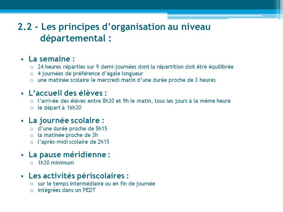 2.2 - Les principes dorganisation au niveau départemental : La semaine : o 24 heures réparties sur 9 demi-journées dont la répartition doit être équil