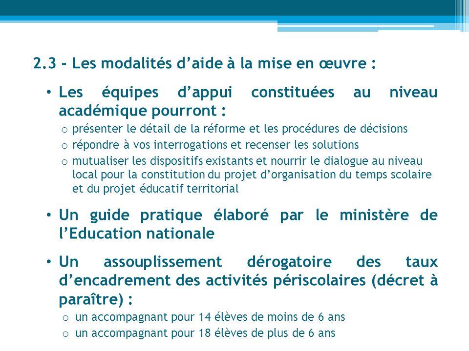 2.3 - Les modalités daide à la mise en œuvre : Les équipes dappui constituées au niveau académique pourront : o présenter le détail de la réforme et l