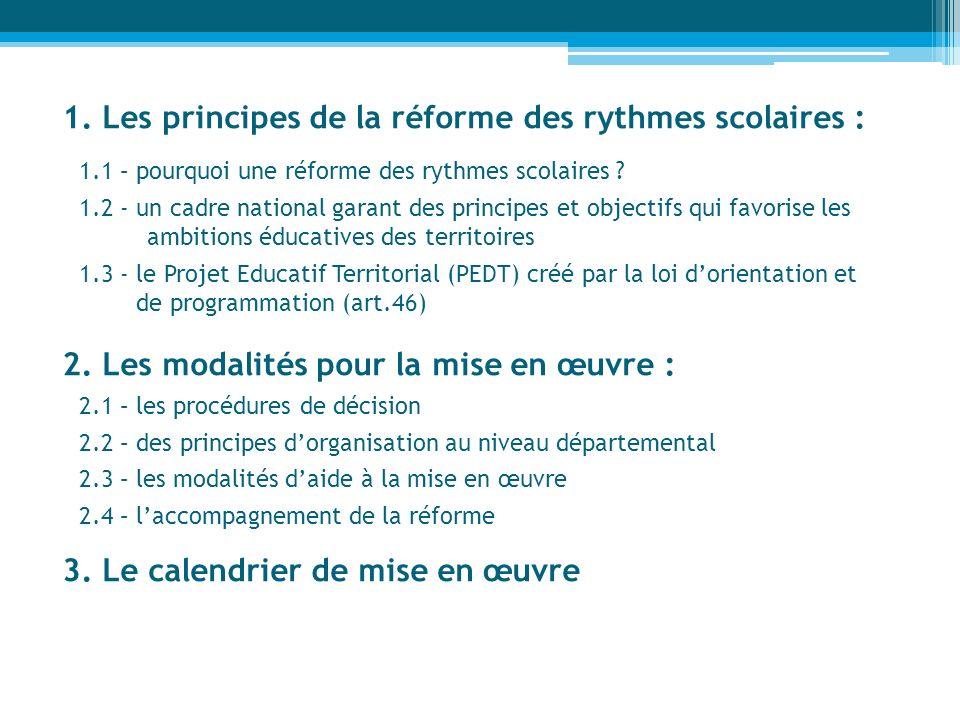 1. Les principes de la réforme des rythmes scolaires : 1.1 – pourquoi une réforme des rythmes scolaires ? 1.2 - un cadre national garant des principes