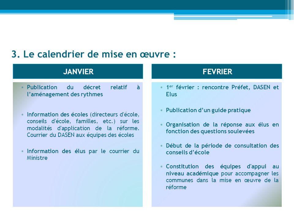 3. Le calendrier de mise en œuvre : JANVIERFEVRIER Publication du décret relatif à laménagement des rythmes Information des écoles (directeurs d'école
