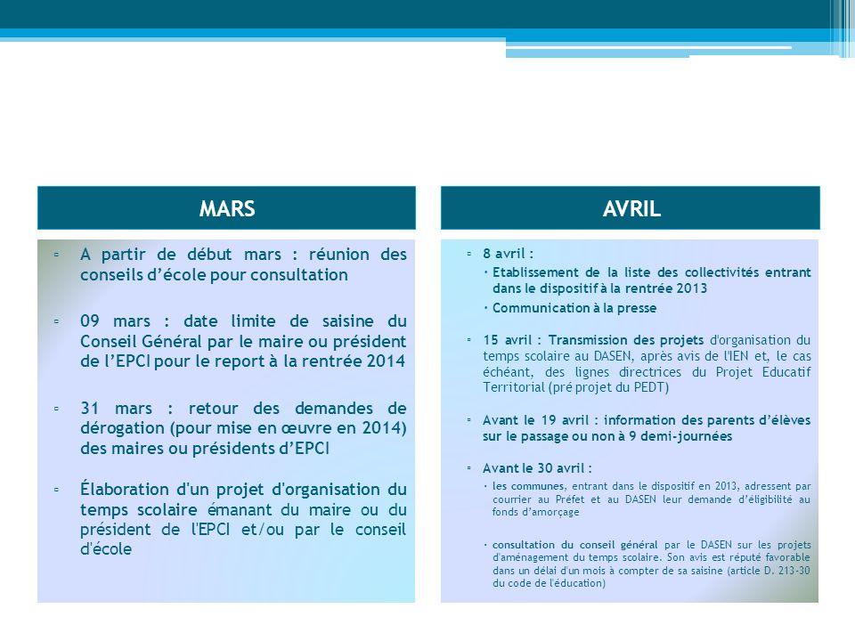 MARSAVRIL A partir de début mars : réunion des conseils décole pour consultation 09 mars : date limite de saisine du Conseil Général par le maire ou p