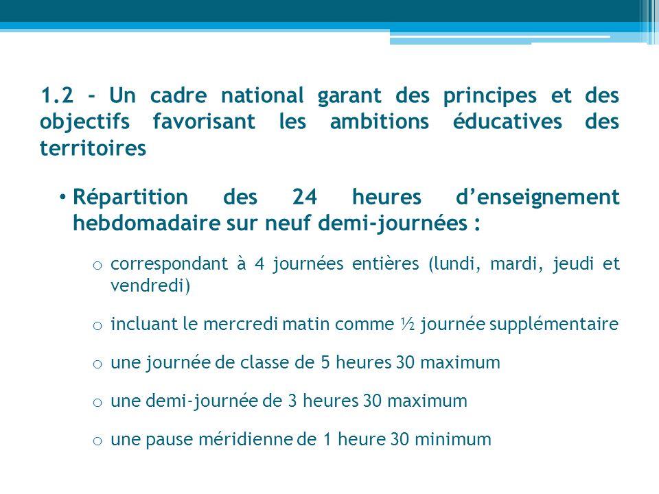 1.2 - Un cadre national garant des principes et des objectifs favorisant les ambitions éducatives des territoires Répartition des 24 heures denseignem