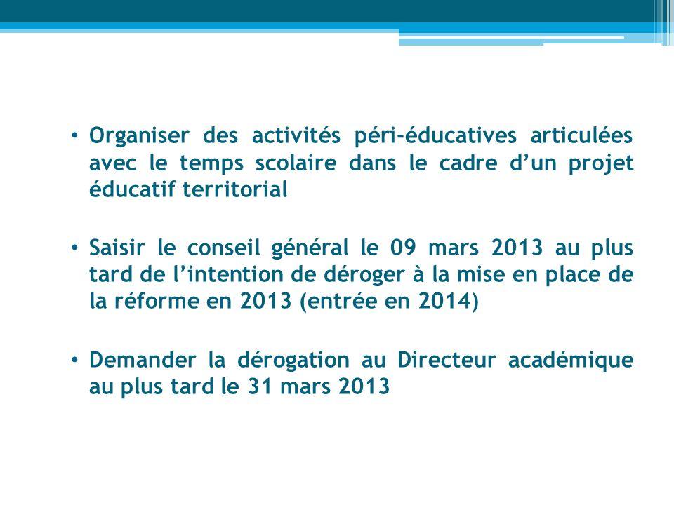 Organiser des activités péri-éducatives articulées avec le temps scolaire dans le cadre dun projet éducatif territorial Saisir le conseil général le 0