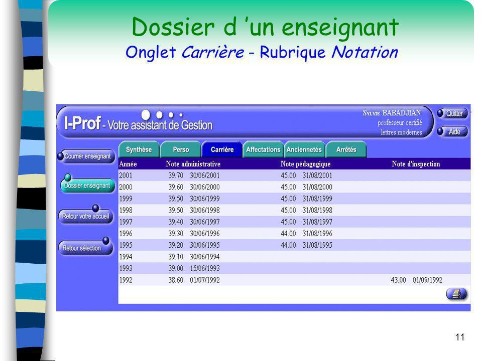 11 Dossier d un enseignant Onglet Carrière - Rubrique Notation
