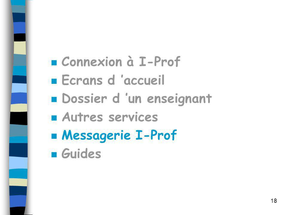 18 n Connexion à I-Prof n Ecrans d accueil n Dossier d un enseignant n Autres services n Messagerie I-Prof n Guides