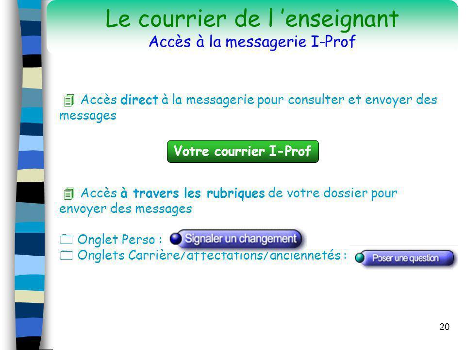 20 Accès direct à la messagerie pour consulter et envoyer des messages Accès à travers les rubriques de votre dossier pour envoyer des messages Onglet