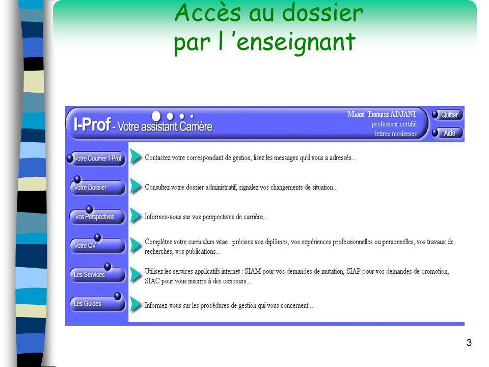 14 n Connexion à I-Prof n Ecrans d accueil n Dossier d un enseignant n Autres services n Messagerie I-Prof n Guides