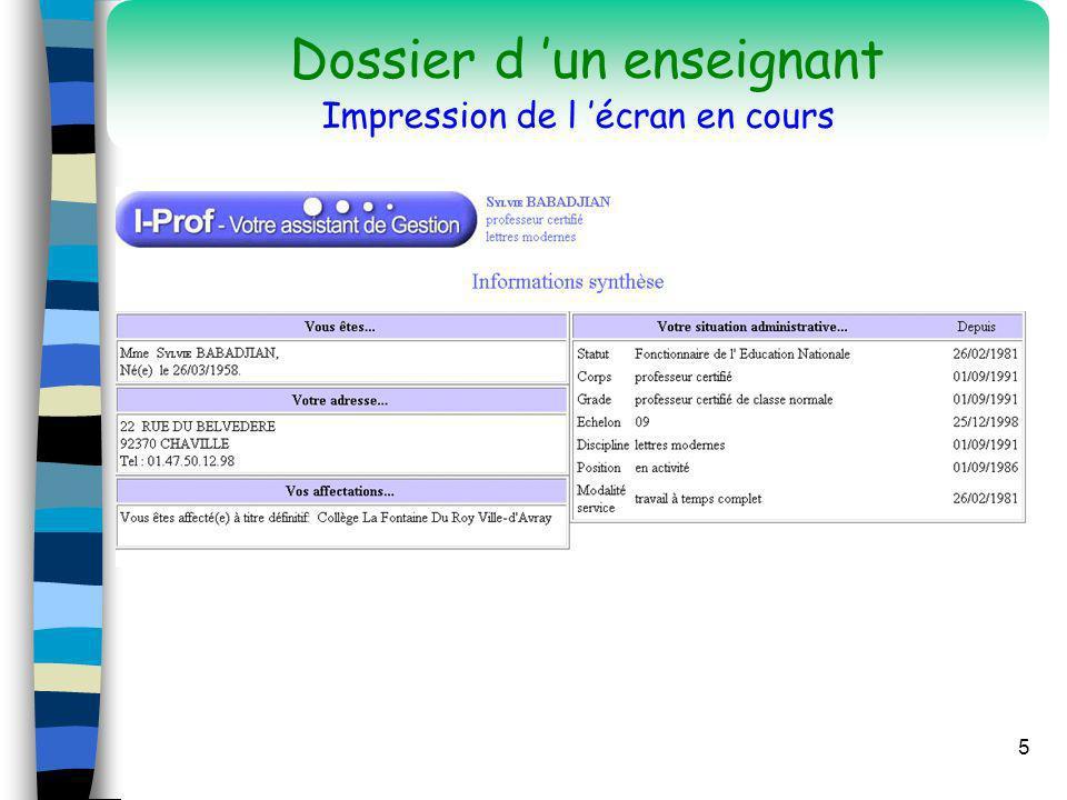 5 Dossier d un enseignant Impression de l écran en cours