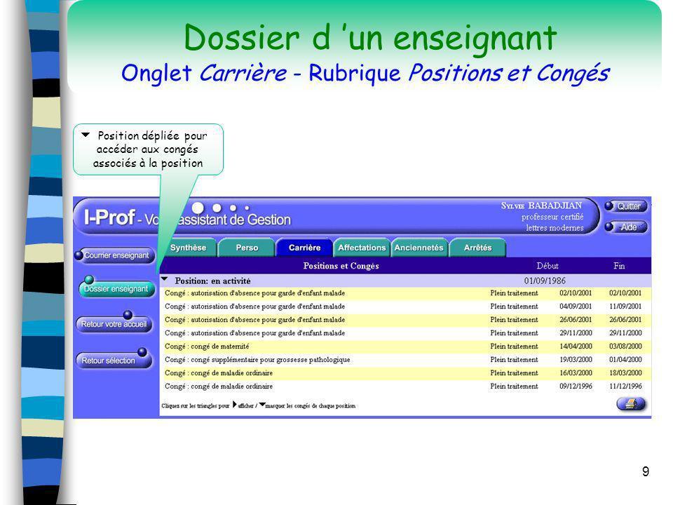 9 Position dépliée pour accéder aux congés associés à la position Dossier d un enseignant Onglet Carrière - Rubrique Positions et Congés