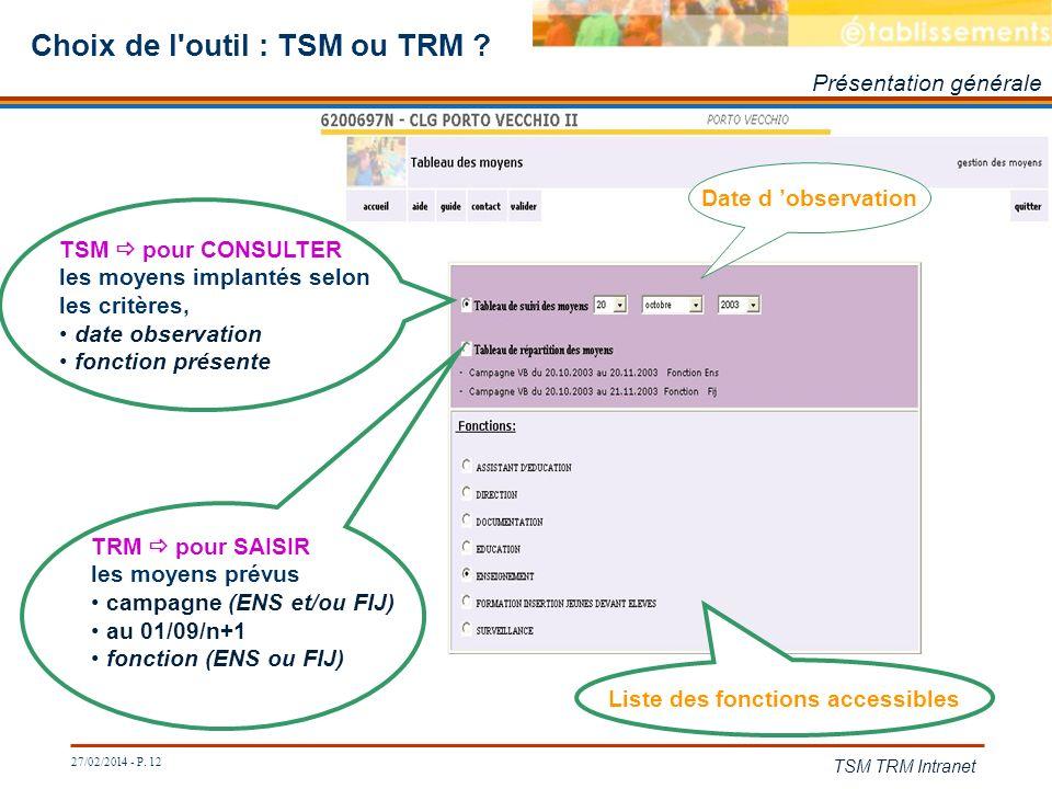 27/02/2014 - P. 12 TSM TRM Intranet Choix de l'outil : TSM ou TRM ? Présentation générale TRM pour SAISIR les moyens prévus campagne (ENS et/ou FIJ) a