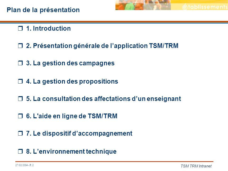27/02/2014 - P. 2 TSM TRM Intranet Plan de la présentation 1. Introduction 2. Présentation générale de lapplication TSM/TRM 3. La gestion des campagne