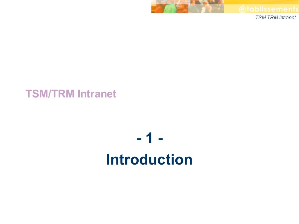 TSM TRM Intranet - 1 - Introduction TSM/TRM Intranet