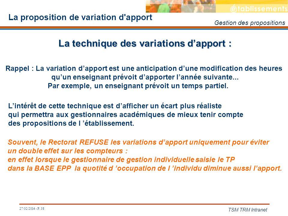 27/02/2014 - P. 38 TSM TRM Intranet La proposition de variation d'apport La technique des variations dapport : Rappel : La variation dapport est une a
