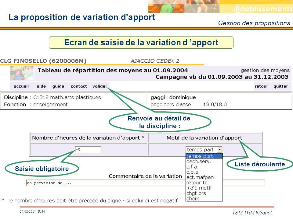 27/02/2014 - P. 40 TSM TRM Intranet La proposition de variation d'apport Ecran de saisie de la variation d apport Saisie obligatoire Liste déroulante