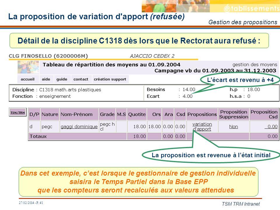 27/02/2014 - P. 41 TSM TRM Intranet La proposition de variation d'apport (refusée) Détail de la discipline C1318 dès lors que le Rectorat aura refusé
