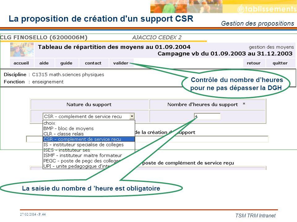 27/02/2014 - P. 44 TSM TRM Intranet La proposition de création d'un support CSR La saisie du nombre d heure est obligatoire Contrôle du nombre dheures