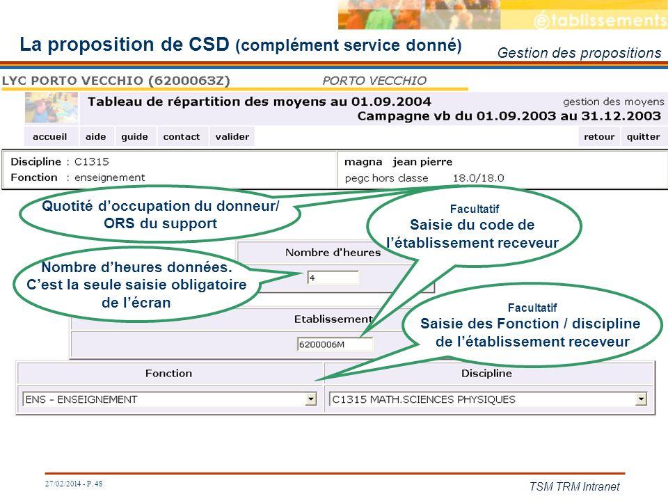 27/02/2014 - P. 48 TSM TRM Intranet La proposition de CSD (complément service donné) Quotité doccupation du donneur/ ORS du support Nombre dheures don