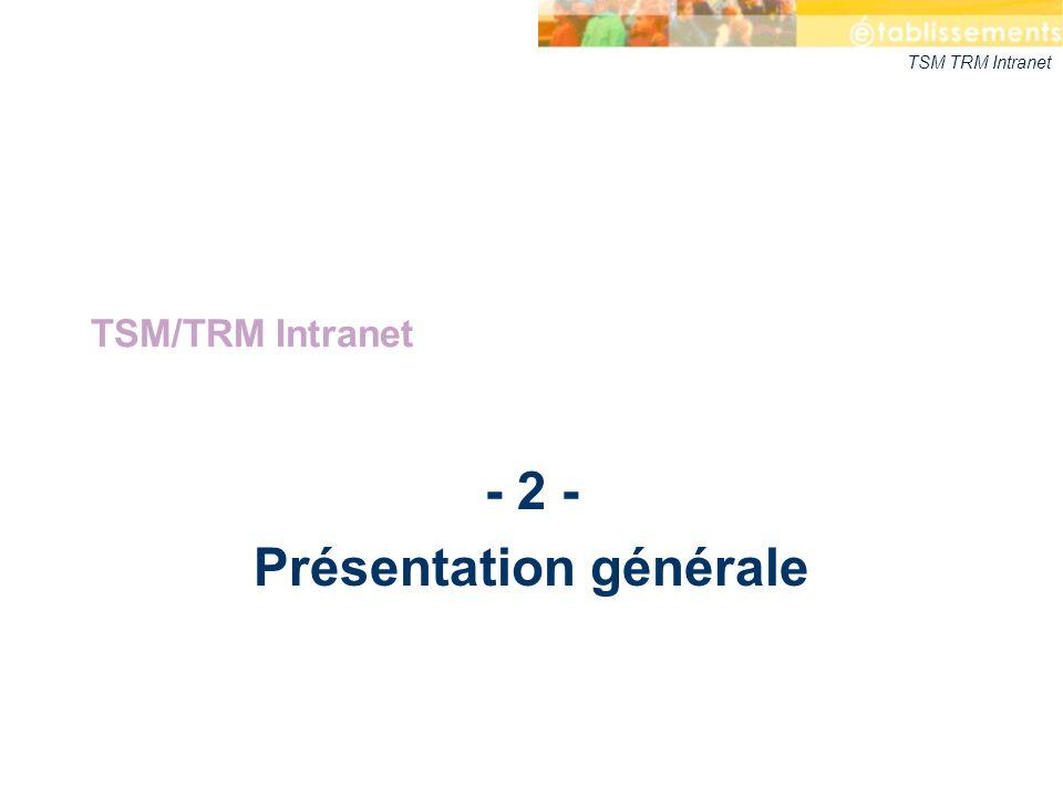 TSM TRM Intranet - 2 - Présentation générale TSM/TRM Intranet