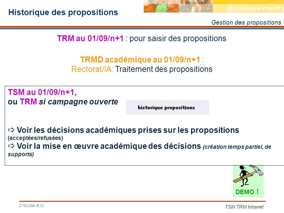 27/02/2014 - P. 52 TSM TRM Intranet Historique des propositions Gestion des propositions TRMD académique au 01/09/n+1 : Rectorat/IA: Traitement des pr