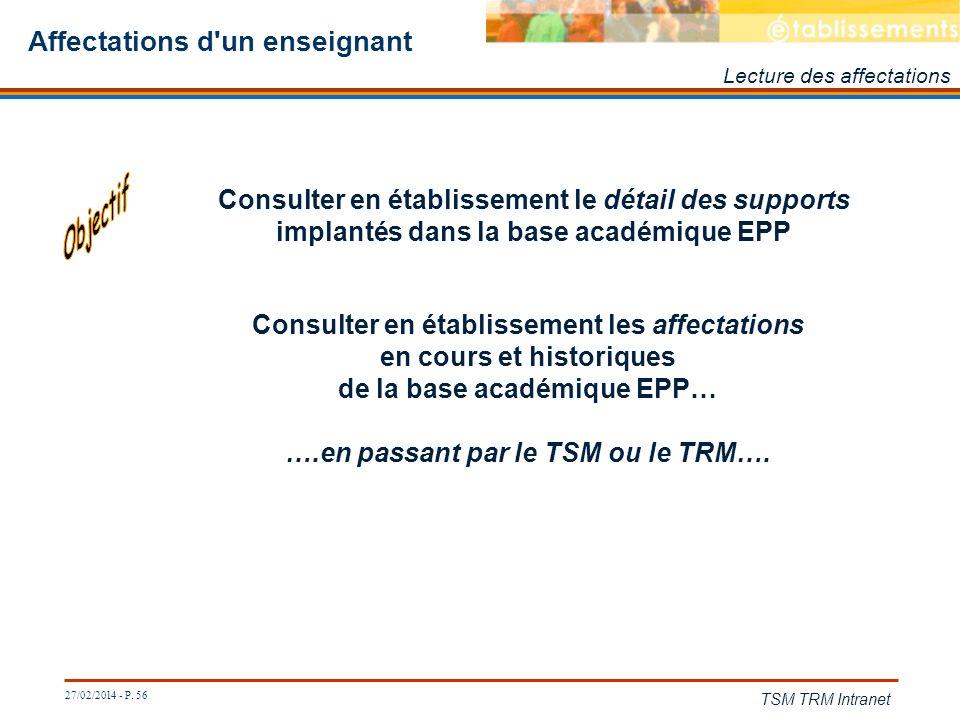 27/02/2014 - P. 56 TSM TRM Intranet Affectations d'un enseignant Consulter en établissement les affectations en cours et historiques de la base académ