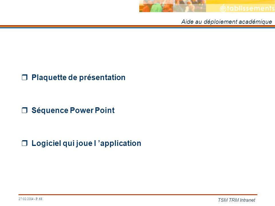 27/02/2014 - P. 68 TSM TRM Intranet Plaquette de présentation Séquence Power Point Logiciel qui joue l application Aide au déploiement académique