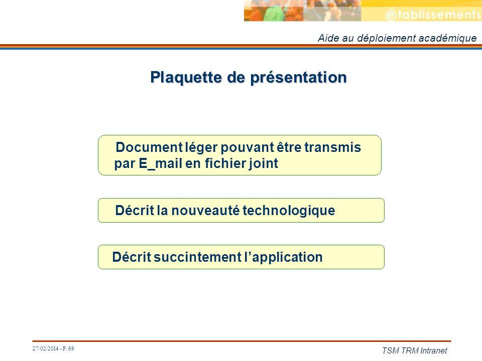 27/02/2014 - P. 69 TSM TRM Intranet Plaquette de présentation Aide au déploiement académique Décrit la nouveauté technologique Document léger pouvant
