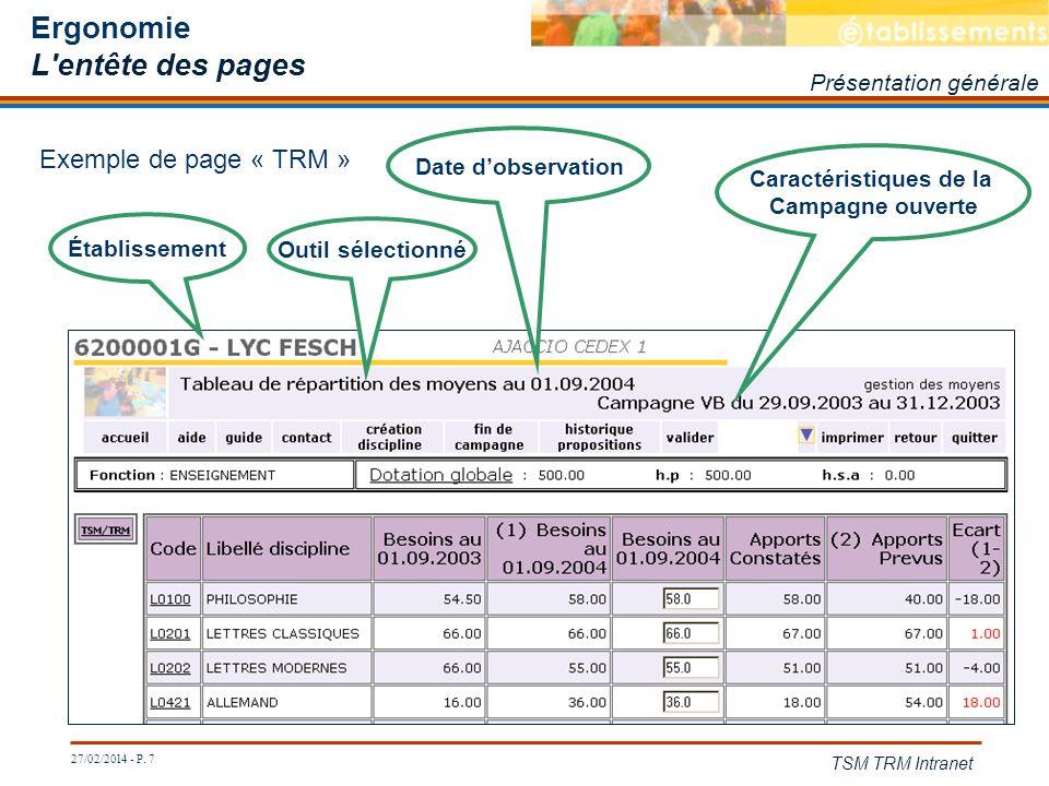 27/02/2014 - P. 7 TSM TRM Intranet Ergonomie L'entête des pages Présentation générale Établissement Outil sélectionné Date dobservation Caractéristiqu