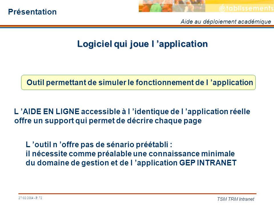27/02/2014 - P. 72 TSM TRM Intranet Présentation Logiciel qui joue l application Aide au déploiement académique Outil permettant de simuler le fonctio