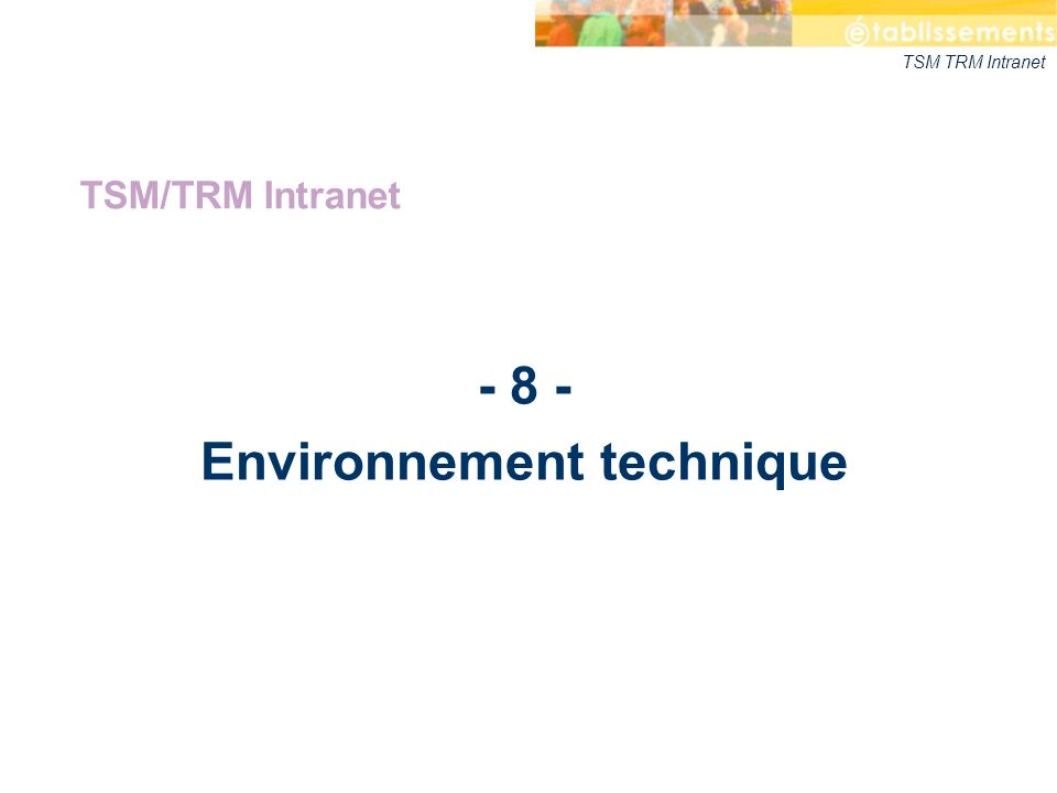 TSM TRM Intranet - 8 - Environnement technique TSM/TRM Intranet