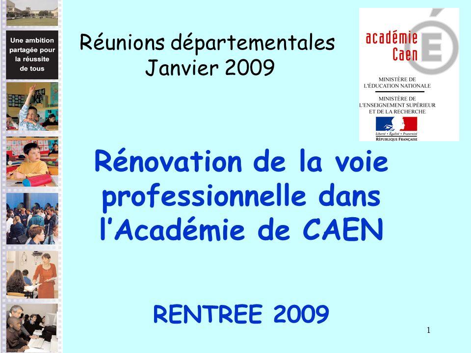 1 Rénovation de la voie professionnelle dans lAcadémie de CAEN RENTREE 2009 Réunions départementales Janvier 2009