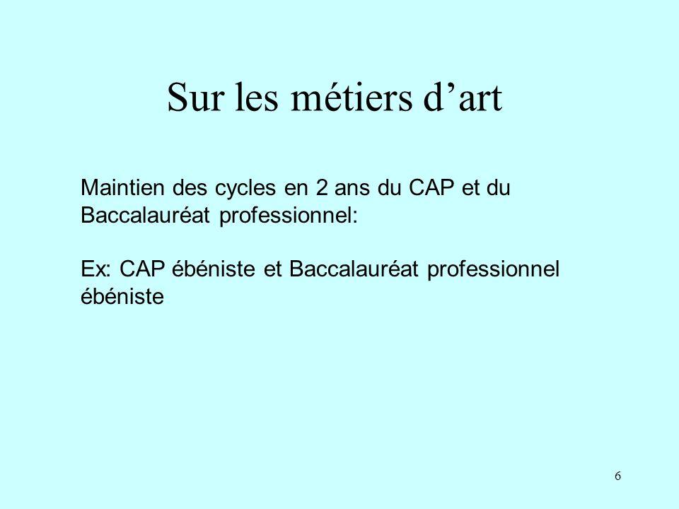 6 Sur les métiers dart Maintien des cycles en 2 ans du CAP et du Baccalauréat professionnel: Ex: CAP ébéniste et Baccalauréat professionnel ébéniste