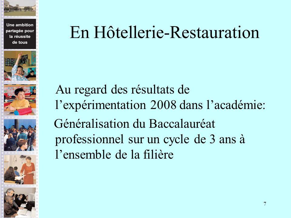 7 En Hôtellerie-Restauration Au regard des résultats de lexpérimentation 2008 dans lacadémie: Généralisation du Baccalauréat professionnel sur un cycl