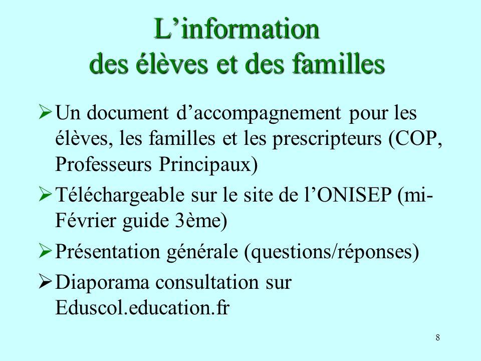 8 Linformation des élèves et des familles Un document daccompagnement pour les élèves, les familles et les prescripteurs (COP, Professeurs Principaux)