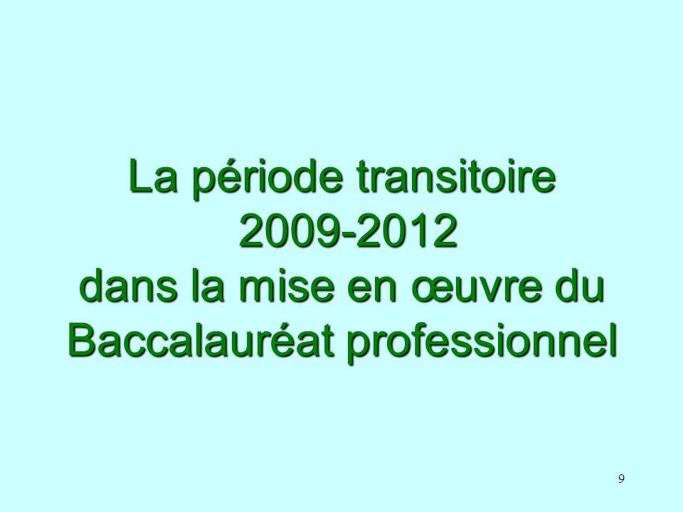 9 La période transitoire 2009-2012 dans la mise en œuvre du Baccalauréat professionnel