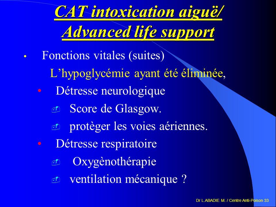 Dr L.ABADIE M. / Centre Anti-Poison 33 CAT intoxication aiguë/ Advanced life support Fonctions vitales (suites) Lhypoglycémie ayant été éliminée, Détr