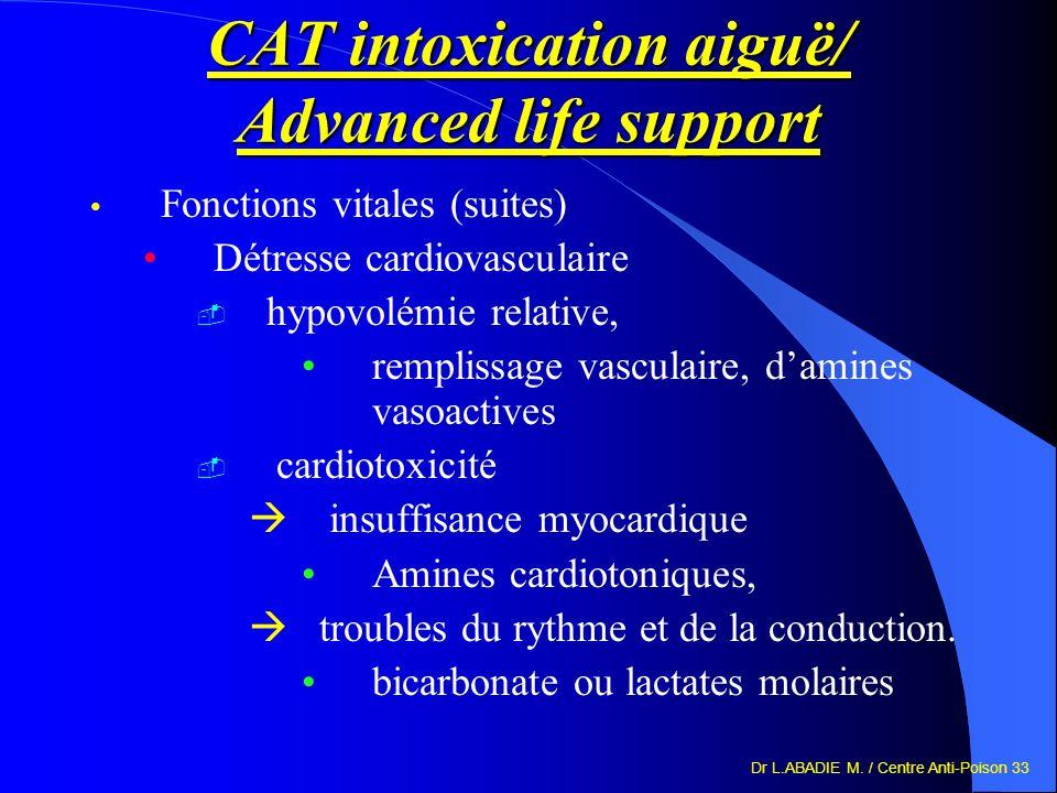 Dr L.ABADIE M. / Centre Anti-Poison 33 CAT intoxication aiguë/ Advanced life support Fonctions vitales (suites) Détresse cardiovasculaire hypovolémie