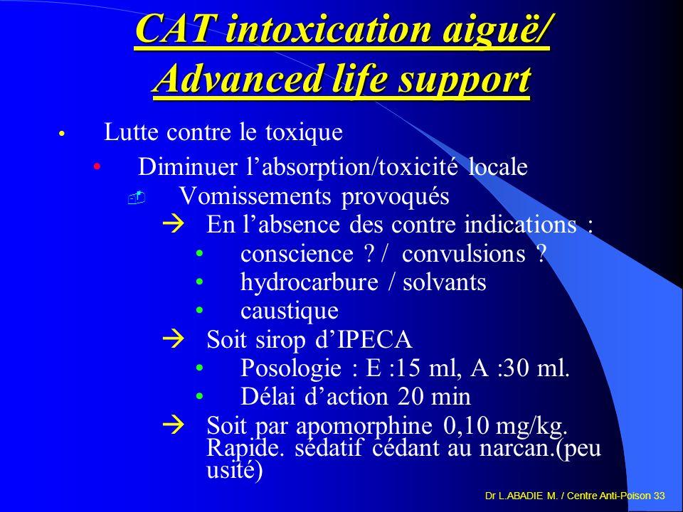 Dr L.ABADIE M. / Centre Anti-Poison 33 CAT intoxication aiguë/ Advanced life support Lutte contre le toxique Diminuer labsorption/toxicité locale Vomi
