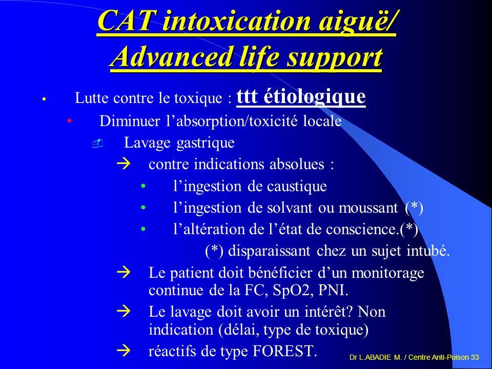 Dr L.ABADIE M. / Centre Anti-Poison 33 CAT intoxication aiguë/ Advanced life support Lutte contre le toxique : ttt étiologique Diminuer labsorption/to