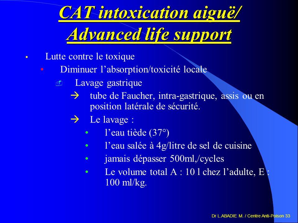 Dr L.ABADIE M. / Centre Anti-Poison 33 CAT intoxication aiguë/ Advanced life support Lutte contre le toxique Diminuer labsorption/toxicité locale Lava