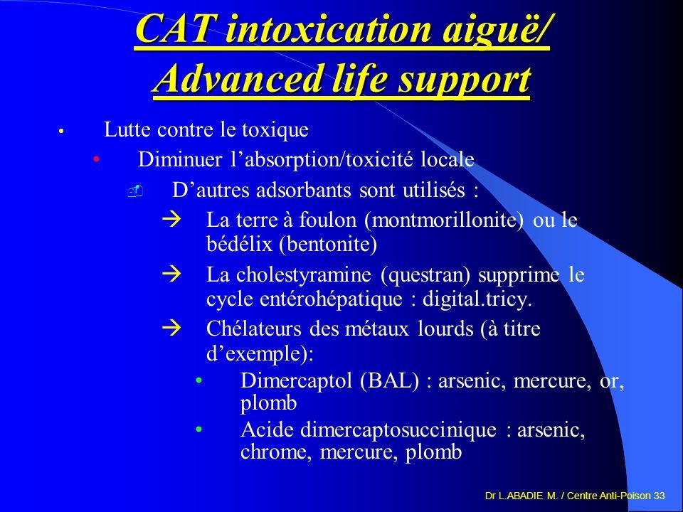 Dr L.ABADIE M. / Centre Anti-Poison 33 CAT intoxication aiguë/ Advanced life support Lutte contre le toxique Diminuer labsorption/toxicité locale Daut