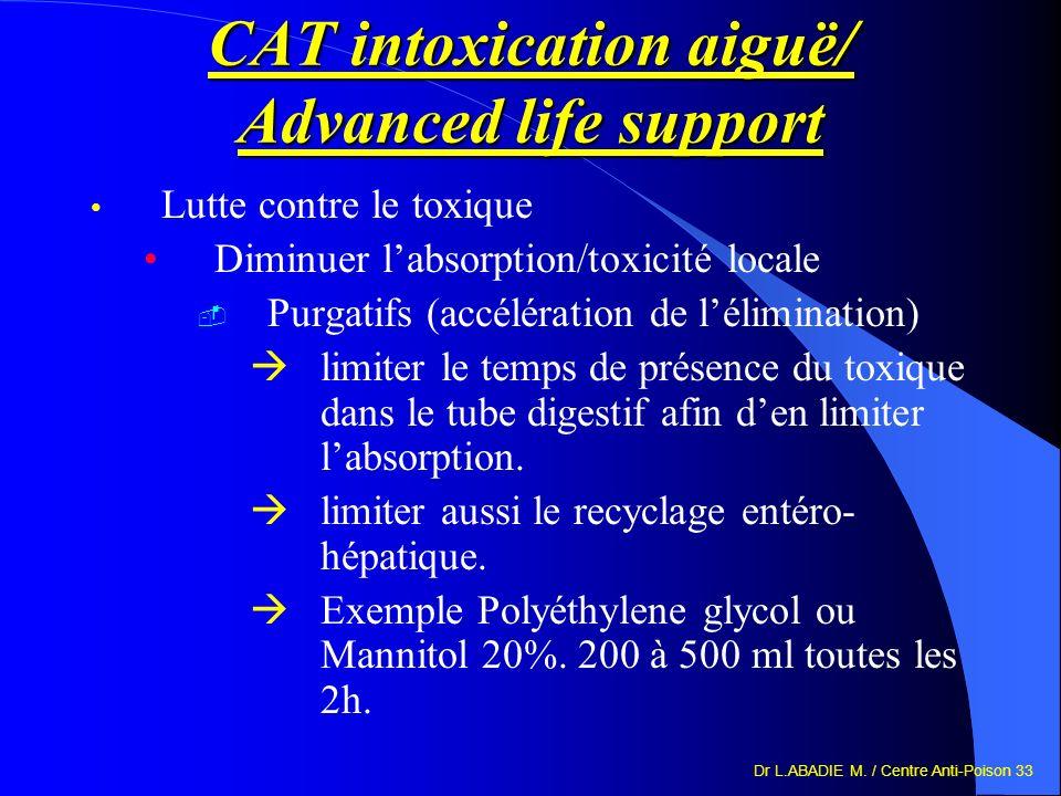 Dr L.ABADIE M. / Centre Anti-Poison 33 CAT intoxication aiguë/ Advanced life support Lutte contre le toxique Diminuer labsorption/toxicité locale Purg