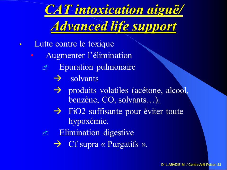 Dr L.ABADIE M. / Centre Anti-Poison 33 CAT intoxication aiguë/ Advanced life support Lutte contre le toxique Augmenter lélimination Epuration pulmonai